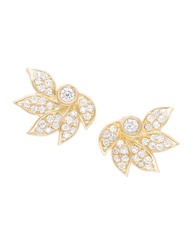 18K Diamond Pave Lotus Stud Earrings