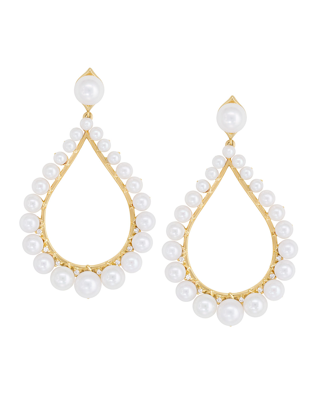 18k Pear-Shape Freshwater Pearl & Diamond Drop Earrings