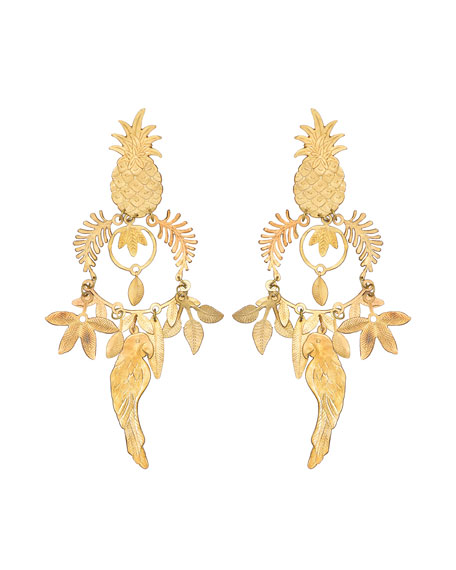 We Dream in Colour Trinidad Pineapple & Parrot Earrings
