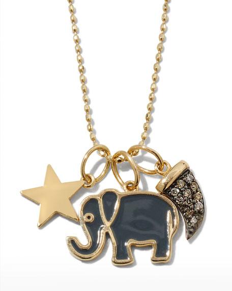 Sydney Evan 14k Enamel & Diamond Elephant Charm Necklace