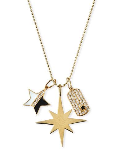 14k Enamel & Diamond Star Charm Necklace
