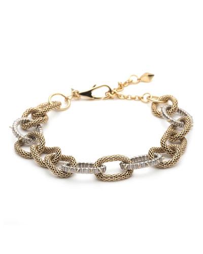 Crystal Encrusted Mesh Chain Link Soft Bracelet