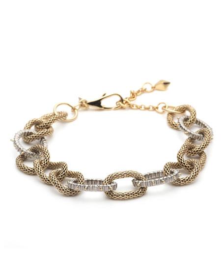 Alexis Bittar Crystal Encrusted Mesh Chain Link Soft Bracelet