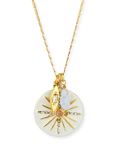 Long Starburst Talisman Necklace, 32
