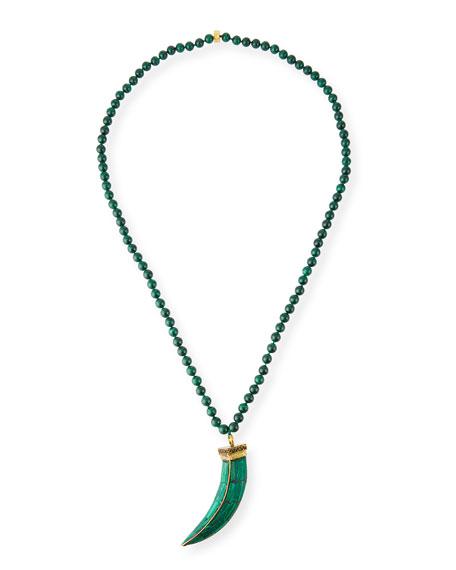 "NEST Jewelry Malachite Beaded Tusk Pendant Necklace, 34""L"