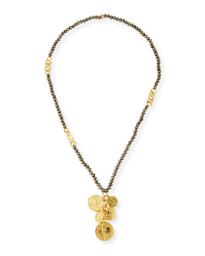 Pyrite Beaded Coin Pendant Necklace, 34
