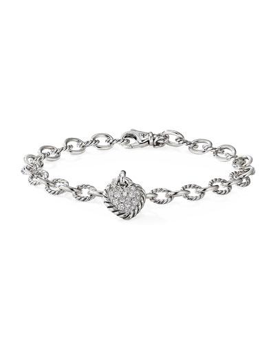 Cable Cookie Classic Heart Bracelet w/ Diamonds, Size M