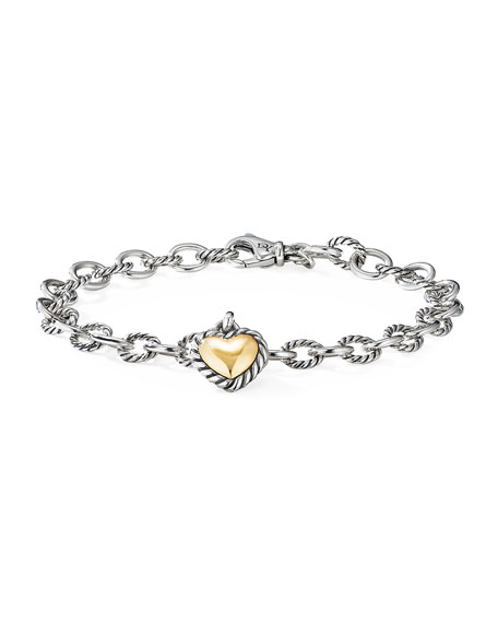 David Yurman Cable Cookie Classic Heart Bracelet w/ 18k Gold, Size S-L
