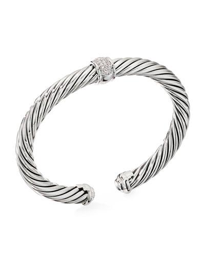 Cable Classic Diamond Center-Station Bracelet, Size S-L