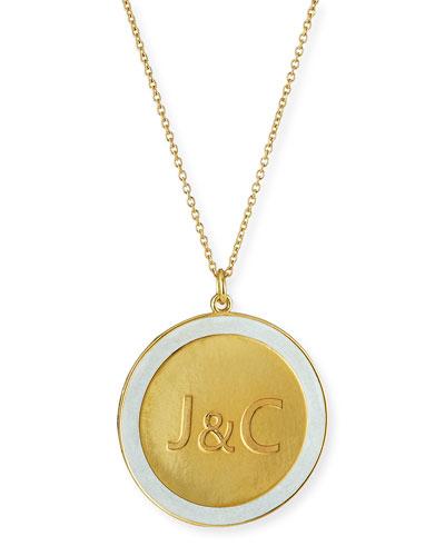 Engraved Enamel Disc Necklace