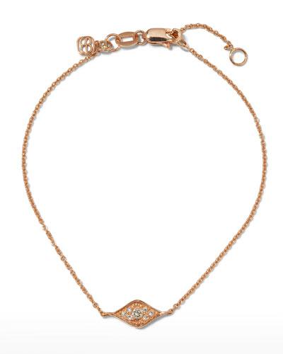 14k Rose Gold Diamond Evil Eye Bracelet