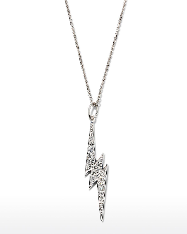 Sydney Evan Accessories 14K WHITE GOLD DIAMOND LIGHTNING BOLT NECKLACE