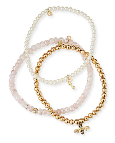14k Lady Love Trio Pearl & Bee Bracelets, Set of 3