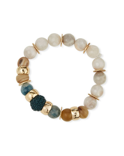 Quartz, Agate & Leather Stretch Bracelet