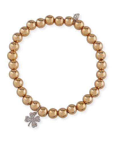 14k Gold Bead Bracelet w/ Diamond Clover