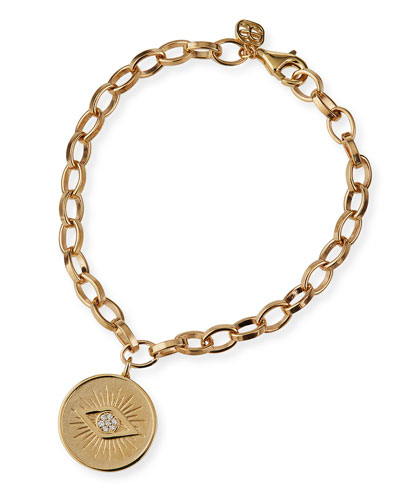 14k Evil Eye Medallion Bracelet w/ Diamonds