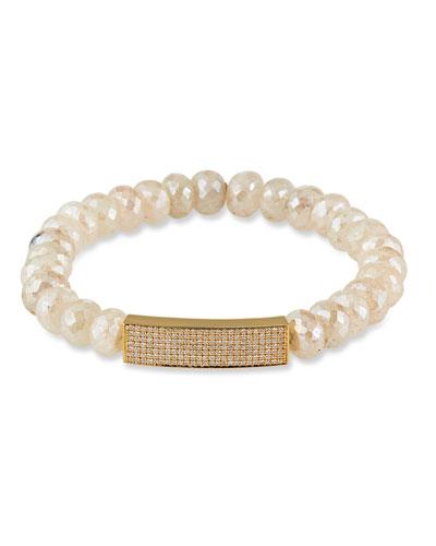 14k Diamond Bar & Graptolite Bracelet