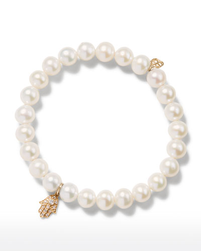 14k Diamond Hamsa & Pearl Bracelet