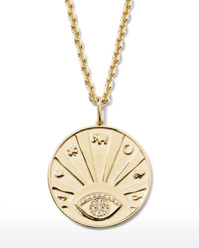 14k Evil Eye Medallion Necklace w/ Diamonds