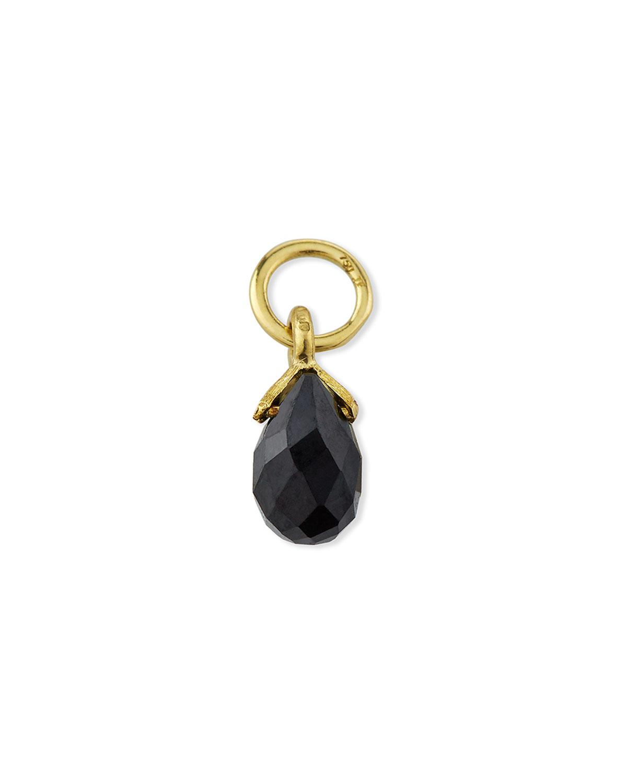 18K Petite Black Spinel Briolette Earring Charm