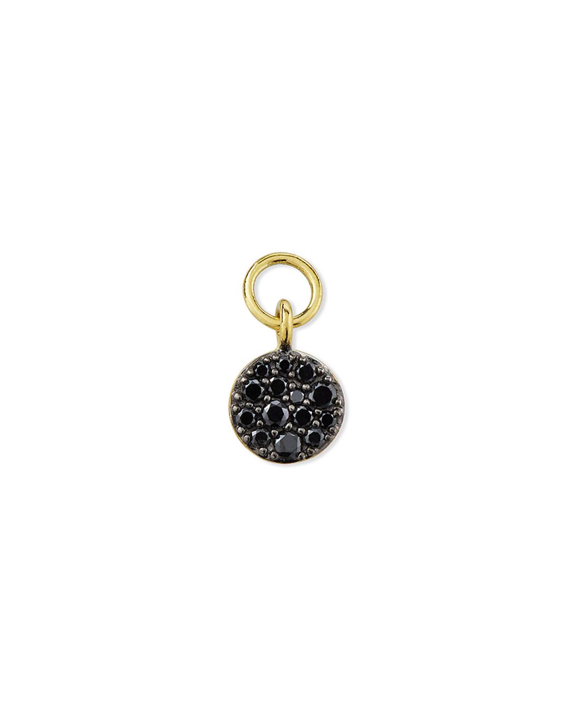 18K Petite Pave Black Diamond Circle Earring Charm