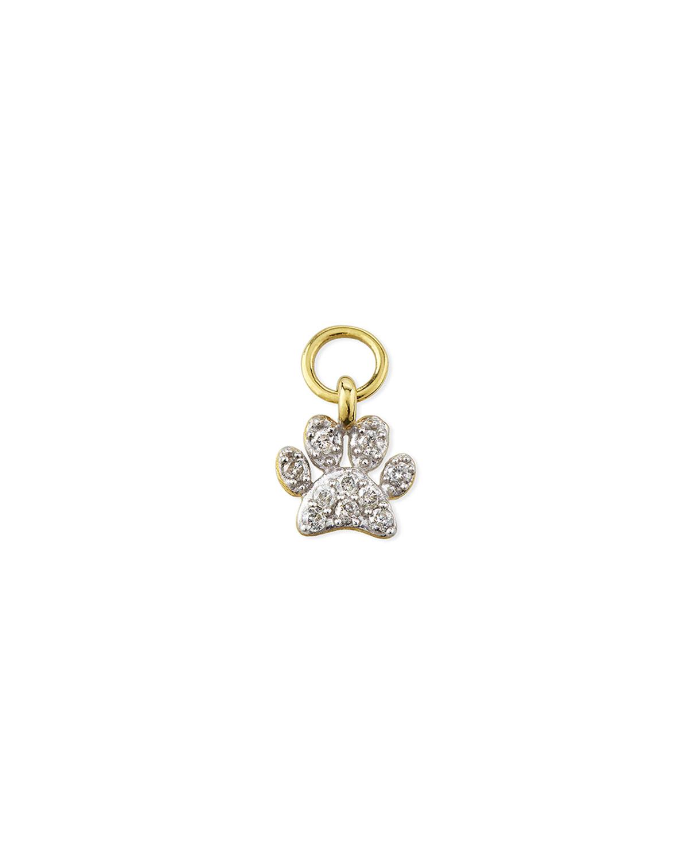 18K Petite Diamond Pave Paw Earring Charm
