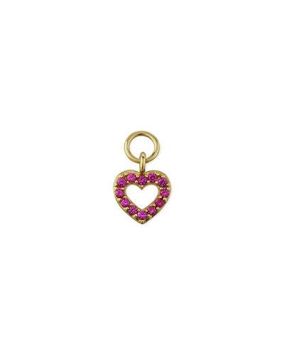 18K Petite Pave Pink Sapphire Open Heart Earring Charm, Single