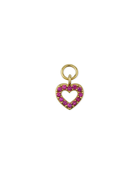 Jude Frances 18K Petite Pave Pink Sapphire Open Heart Earring Charm, Single
