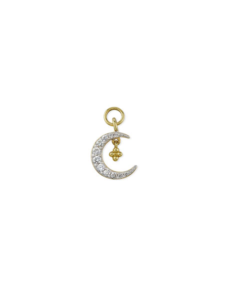 Jude Frances 18K Petite Pave Diamond Crescent Earring Charm, Single, Left