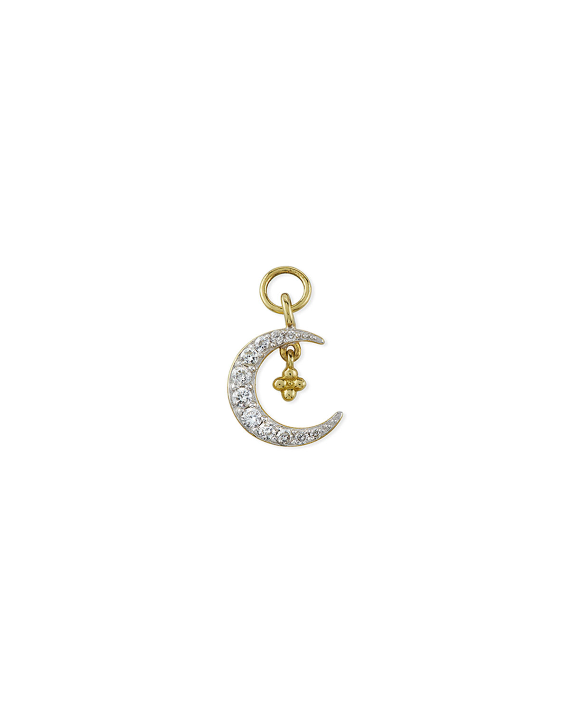 18K Petite Pave Diamond Crescent Earring Charm