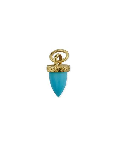 18K Petite Turquoise Bullet Earring Charm, Single