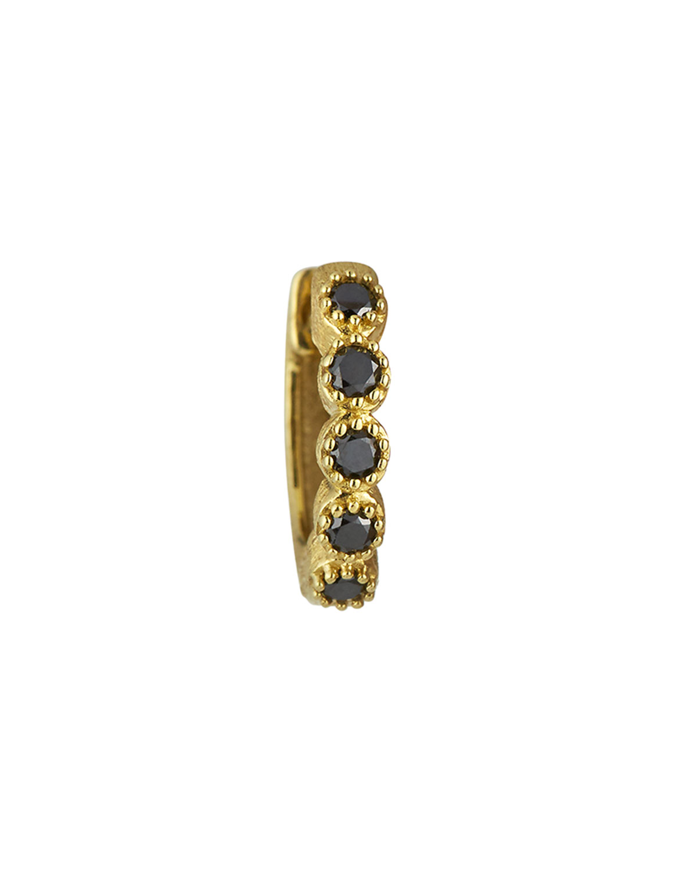 18K Petite Black Diamond Bezel Hoop Earring