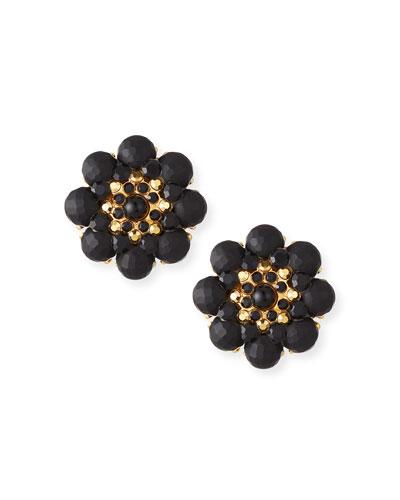 Beaded Round Flower Clip Earrings
