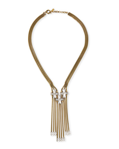 Hayden Fringe Statement Necklace w/ Crystals