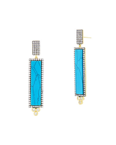 Color Theory Pave Bar Drop Earrings, Turquoise-Hue