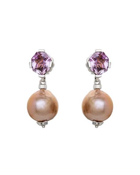 Stephen Dweck Pink Amethyst Pearl-Drop Earrings