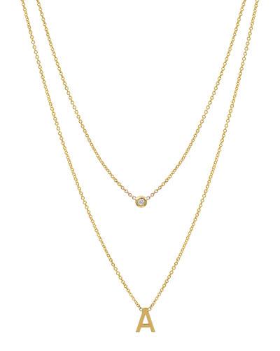 Personalized 14k Initial & Diamond Bezel 2-Layer Necklace