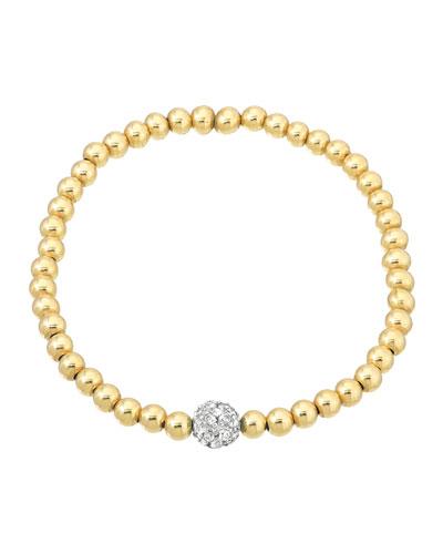 14k 5mm Bead Bracelet w/ Diamond Center