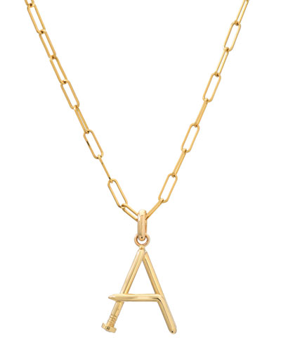 Personalized 14k Large Initial Pendant Necklace