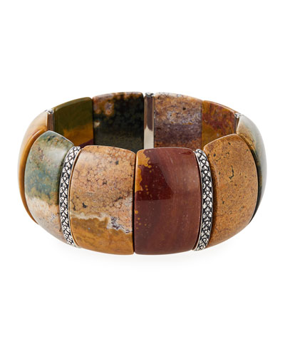 Jasper Flower-Bar Stretch Bracelet