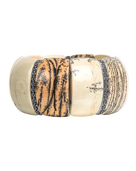 Stephen Dweck Stone Stretch Bracelet, White/Gray