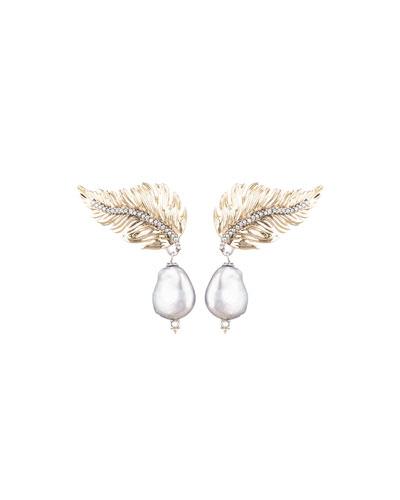 Feather Pearl-Drop Post Earrings