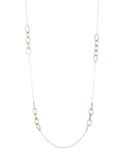 Crystal Encrusted Mesh Chain Link Station Necklace