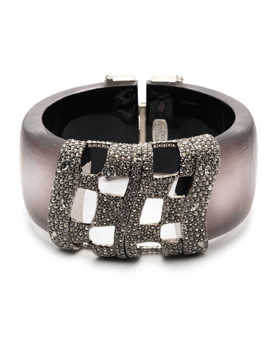 Pave Checkerboard Hinge Bracelet, Rose Gray
