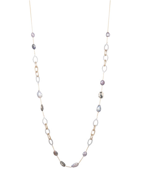 Alexis Bittar Crystal Encrusted Mesh Chain Link Stone Station Necklace