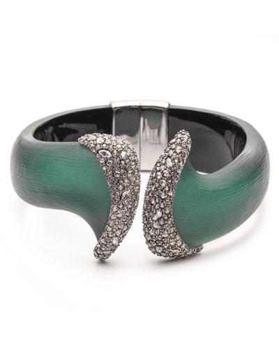 Organic Pave Hinge Bracelet, Forest