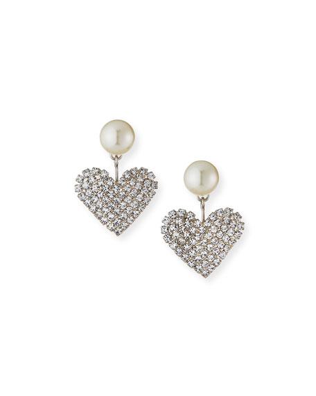 Jennifer Behr Valentine Pearly & Crystal Heart Earrings
