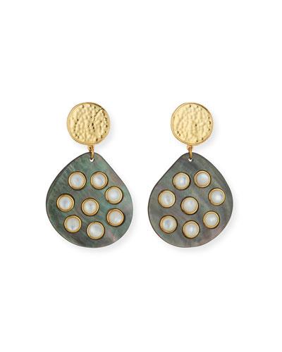 Gray Shell Earrings w/ Mother-of-Pearl