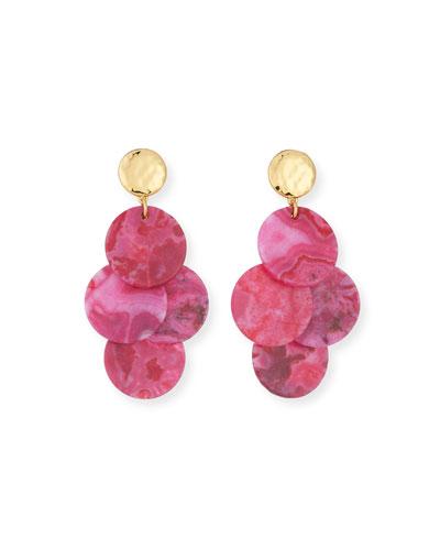 Magenta Agate Mini Chandelier Earrings