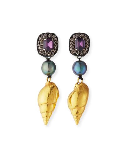 Seashell & Crystal Dangle Earrings